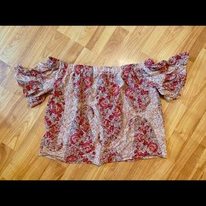 Madewell off the shoulder floral pink top size XS